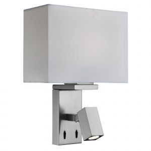 0882SS Wall Adjustable 2 Light Wall Bracket, Satin Silver, Fabric White Shade