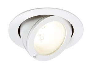 Saxby 10464 Remano Single Recessed Downlight Gloss White Paint Finish - Requires Control Gear