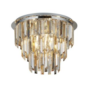 Searchlight 1225-5CC Clarissa 5 Light Pendant With Clear/Amber/Smokey Crystal Prism Drops Finish