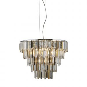 Searchlight 1229-9CC Clarissa 9 Light Pendant With Clear/Amber/Smokey Crystal Prism Drops Finish