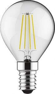 Value Classic LED Ball E14 Dimmable 4W 6000K Cool White, 470lm, Clear Finish, 3yrs Warranty