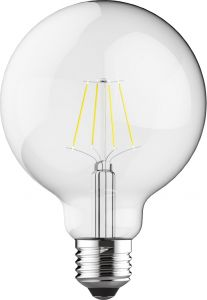 Classic LED Globe D95 E27 6.5W 4000K Natural White 806lm Dimmable Clear Finish 3yrs Warranty