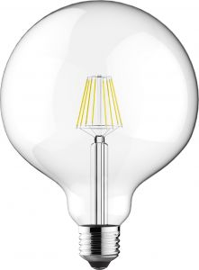 Classic LED Globe D125 E27 6.5W 4000K Natural White 806lm Dimmable Clear Finish 3yrs Warranty