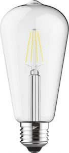 Value Classic LED Rustica Tradition Tip ST64 E27 6.5W Dimmable 4000K Natural White Clear Finish, 3yrs Warranty
