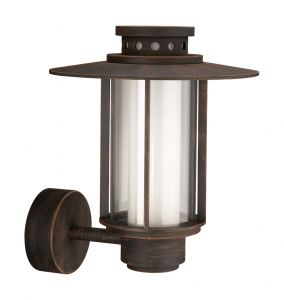 Santiago Wall Lamp 1 Light E27 IP44 Exterior Brown Aluminium/Synthetic