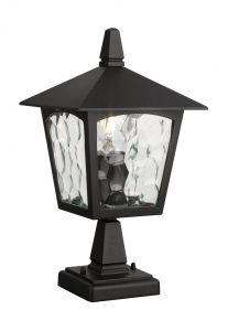 Bucharest Pedestal/Post Lamp 1 Light E27 IP44 Exterior Black Aluminium/Glass