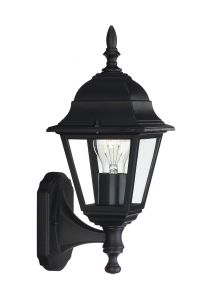 Lima Wall Lamp 1 Light E27 IP44 Exterior Black Aluminium/Glass