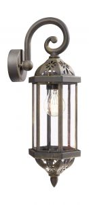 Algiers Down Wall Lamp 1 Light E27 IP44 Exterior Black  & Antique Gold Aluminium/Synthetic