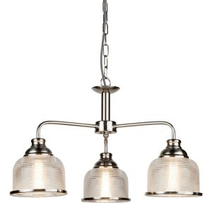 Bistro II - 3 Light Ceiling, Satin Silver, Pilotphane Glass