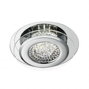 1692CC Vesta LED Ceiling Flush, Chrome, Clear Crystal Centre Deco