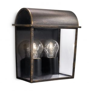 Harvest Wall Lamp 2 Light E27 IP44 Exterior Black & Antique Gold Aluminium/Synthetic