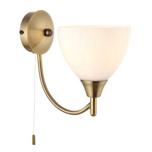 Alton Single Wall Light Antique Brass/Opal Glass Finish Switched