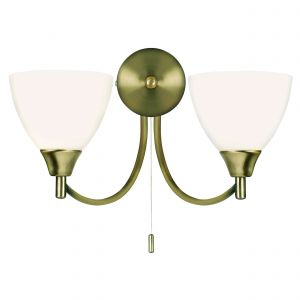 Alton Double Wall Light Antique Brass/Opal Glass Finish Switched
