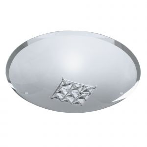 2198-32 FLUSH - 1LT CEILING FLUSH (DIA 32cm), SANDED GLASS, CLEAR CRYSTAL