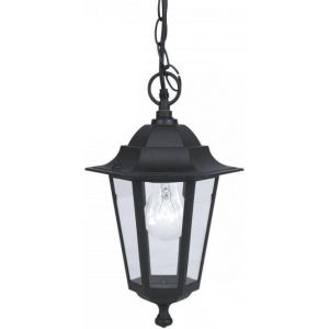 1 Light Aluminium Black IP44 Outdoor Adjustable Pendant With Glass Panels