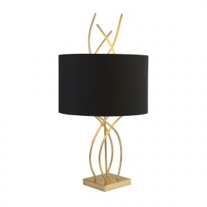 2314AB Flame Table Lamp With Ab Base And Black Shade