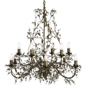 24912-12BR ALMANDITE - 12LT CEILING, BROWN GOLD FINISH WITH LEAF DRESSING AND CLEAR CRYSTAL DECO