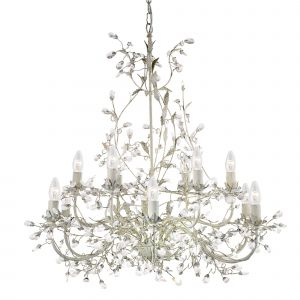 24912-12CR Almandite - 12 Light Ceiling, Cream Gold Finish With Leaf Dressing And Clear Crystal Deco