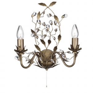 2492-2BR Almandite - 2 Light Wall Bracket, Brown Gold Finish With Leaf Dressing And Clear Crystal Deco