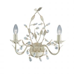 2492-2CR Almandite - 2 Light Wall Bracket, Cream Gold Finish With Leaf Dressing And Clear Crystal Deco