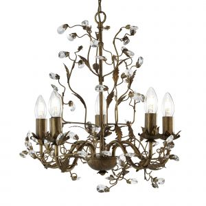 2495-5BR ALMANDITE - 5LT CEILING, BROWN GOLD FINISH WITH LEAF DRESSING AND CLEAR CRYSTAL DECO