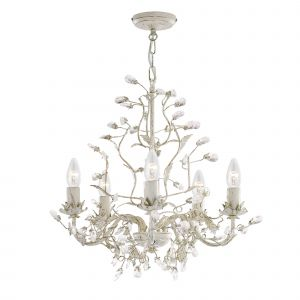 2495-5CR Almandite - 5 Light Ceiling, Cream Gold Finish With Leaf Dressing And Clear Crystal Deco