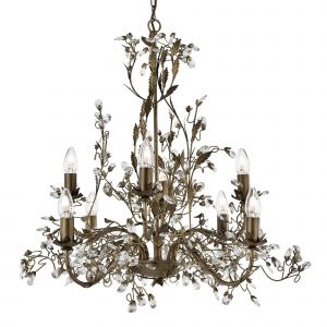 2498-8BR Almandite - 8 Light Ceiling, Brown Gold Finish With Leaf Dressing And Clear Crystal Deco