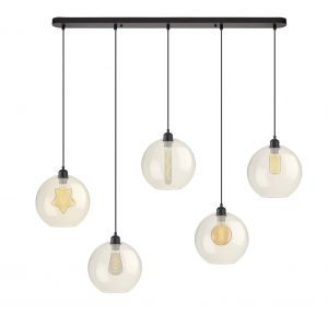 Colvard 5 Light E27 Black Adjustable Suspension Fitting With 25CM Champagne Globe Shades