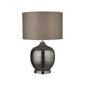 Searchlight 2837SM Single Table Lamp Smoked Ridged Detail Glass With Grey Drum Shade Finish