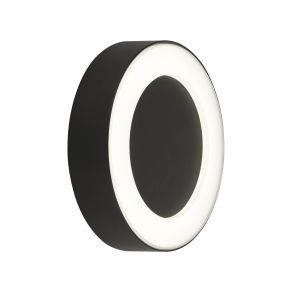 Ringo 1 Light 6W 249lm Black Outdoor IP44 Round Wall Light With Frosted Polycarbonate Diffuser 4000K