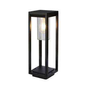 Barre 1 Light E27 Sand Black Outdoor IP44 450mm Post Light With Clear Polycarbonate Shade