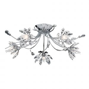 2885-5CC HIBISCUS - 5LT FLUSH CEILING CHROME , CLEAR GLASS