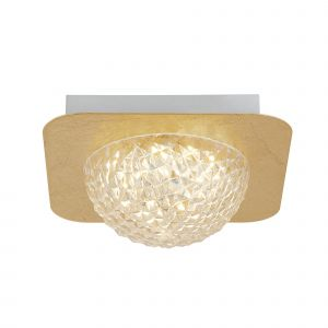 Harthe 1 Light 6.5W 585lm Integrated LED Gold Leaf Flush Wall/Ceiling Fitting With Acylic Shade 3000K