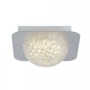 Harthe 1 Light 6.5W 585lm Integrated LED Silver Leaf Flush Wall/Ceiling Fitting With Acylic Shade 3000K