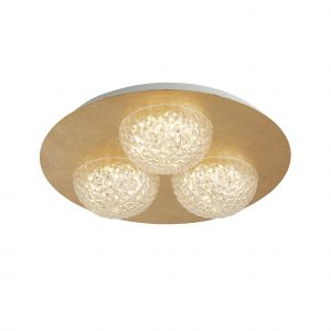 Harthe 3 Light 20W 1730lm Integrated LED Gold Leaf Round Flush Ceiling Fitting With Acylic Shade 3000K