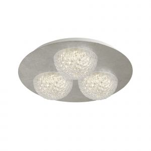 Harthe 3 Light 20W 1730lm Integrated LED Silver Leaf Round Flush Ceiling Fitting With Acylic Shade 3000K