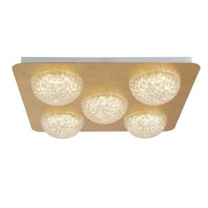 Harthe 5 Light 33W 2940lm Integrated LED Gold Leaf Square Flush Ceiling Fitting With Acylic Shade 3000K