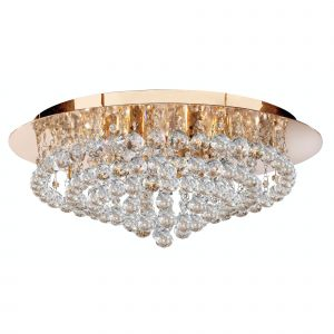 3408-8GO Hanna 8 Light Gold Round Flush Ceiling Light Crystal Balls