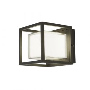 Arch 1 Light 10W 580lm Integrated LED Dark Grey IP44 Outdoor Wall/Ceiling Light With Opal White Shade 3000K