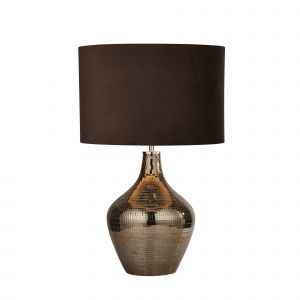 Searchlight 3847SM Single Table Lamp Smoked Mosaic With Brown Suede Shade Finish