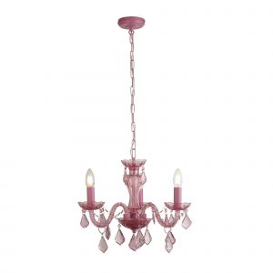 Esprit 3 Light E14 Pink Adjustable Chandelier With Acrylic Droplets