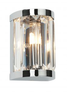 Saxby 39628 Crystal Single IP44 Bathroom Wall Light Polished Chrome and Glass Finish