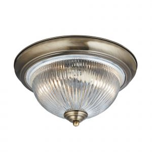 4370 Flush - 2 Light IP44 Ceiling Flush, Antique Brass, Clear Glass