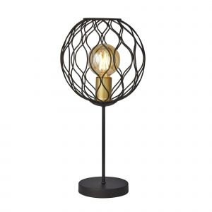 Finesse Single Table Lamp Wavey Bar Detail/Black/Gold Lampholders Finish
