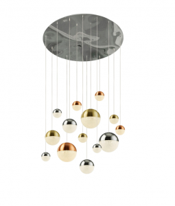 Galaxy 14 Light 107W 4466lm Integrated LED Multi Coloured Adjustable Pendant With Metallic Copper/Chrome & Satin Brass Acrylic Caps And Crystal Sand Finish