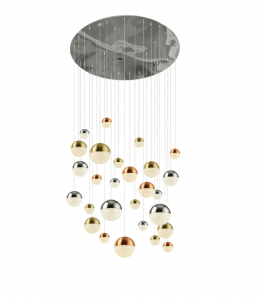 Galaxy 27 Light 204W 8000lm Integrated LED Multi Coloured Adjustable Pendant With Metallic Copper/Chrome & Satin Brass Acrylic Caps And Crystal Sand Finish