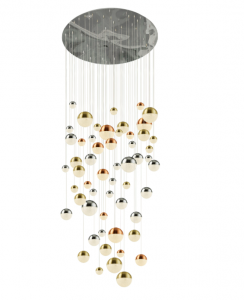 Galaxy 55 Light 376W 15500lm Integrated LED Multi Coloured Adjustable Pendant With Metallic Copper/Chrome & Satin Brass Acrylic Caps And Crystal Sand Finish