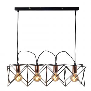 Searchlight 471070 Ayr 4 Light Pendant Black Copper Finish