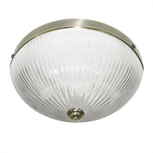 4772AB Windsor Ii Flush - 2 Light Ceiling Flush, Antique Brass, Clear Ribbed Glass