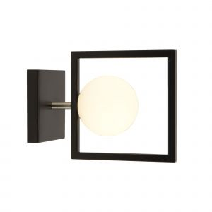 4831BK Rosewell 1 Light Wall Light, Matt Black And Opal